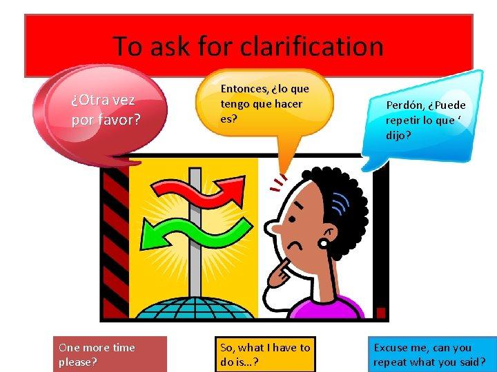 To ask for clarification ¿Otra vez por favor? One more time please? Entonces, ¿lo