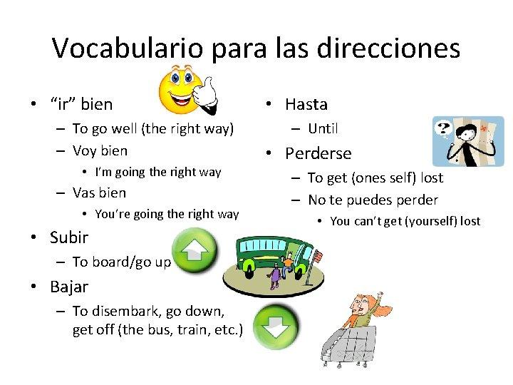 """Vocabulario para las direcciones • """"ir"""" bien – To go well (the right way)"""