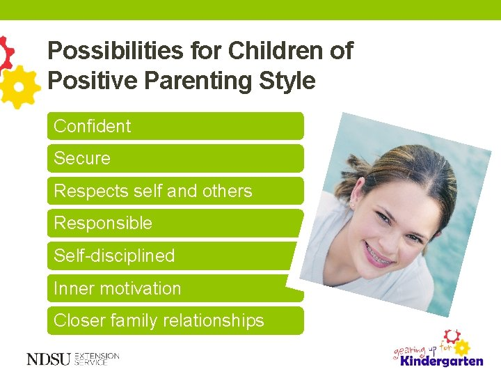 Possibilities for Children of Positive Parenting Style Confident Secure Respects self and others Responsible