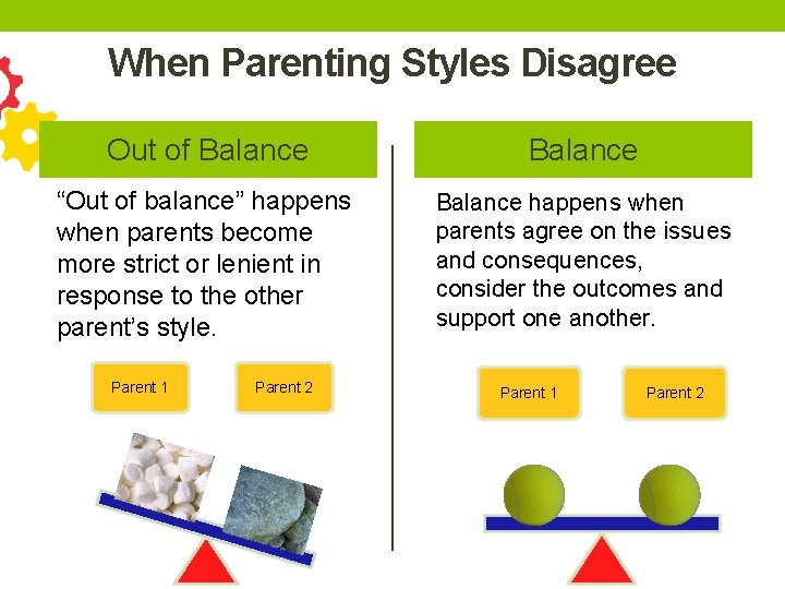 """When Parenting Styles Disagree Out of Balance """"Out of balance"""" happens when parents become"""
