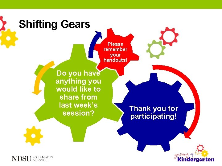Shifting Gears Please remember your handouts! Do you have anything you would like to