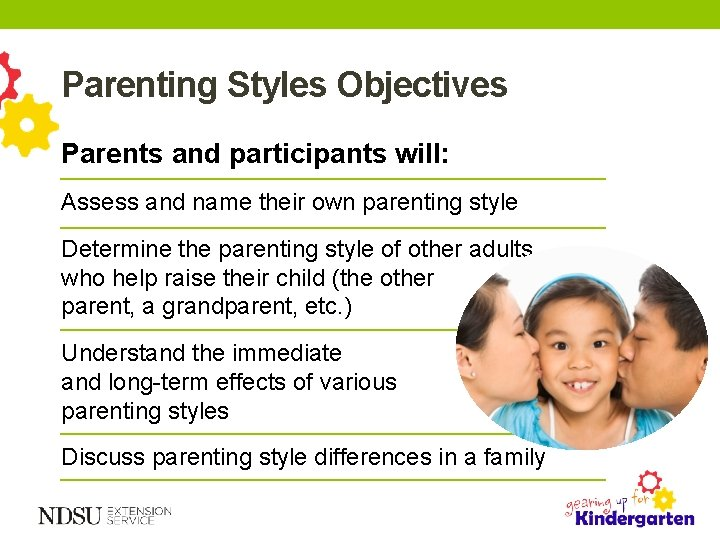 Parenting Styles Objectives Parents and participants will: Assess and name their own parenting style