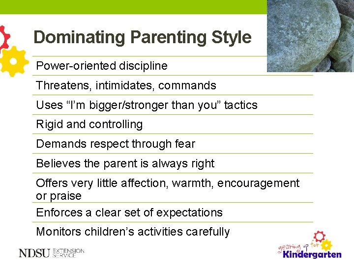 """Dominating Parenting Style Power-oriented discipline Threatens, intimidates, commands Uses """"I'm bigger/stronger than you"""" tactics"""