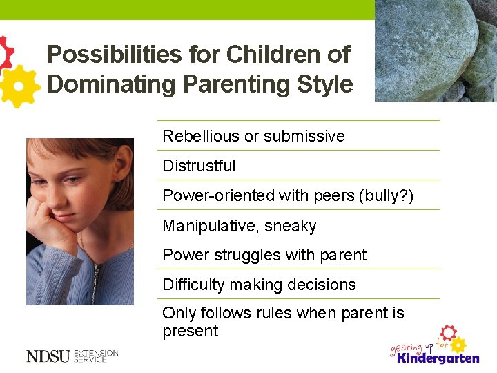Possibilities for Children of Dominating Parenting Style Rebellious or submissive Distrustful Power-oriented with peers