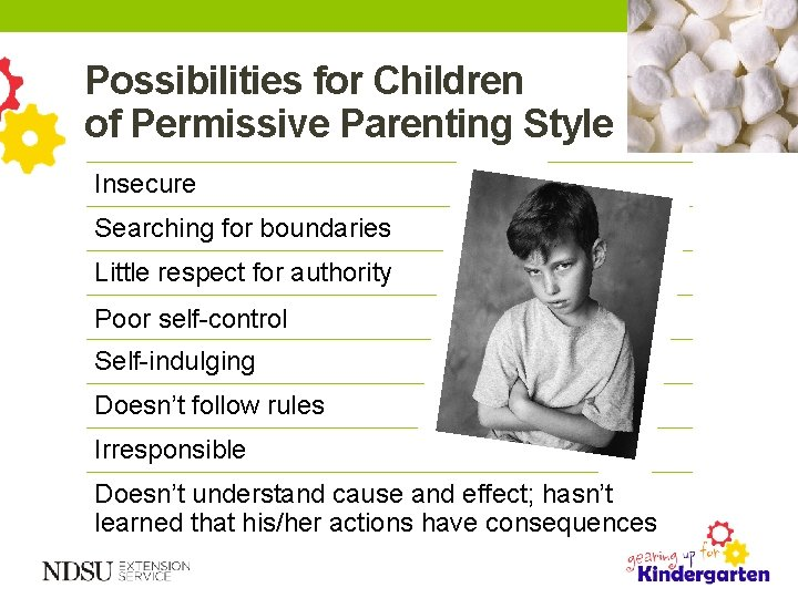 Possibilities for Children of Permissive Parenting Style Insecure Searching for boundaries Little respect for