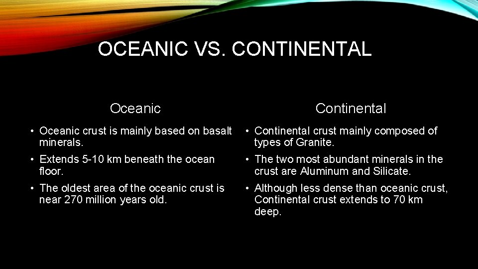 OCEANIC VS. CONTINENTAL Oceanic Continental • Oceanic crust is mainly based on basalt minerals.