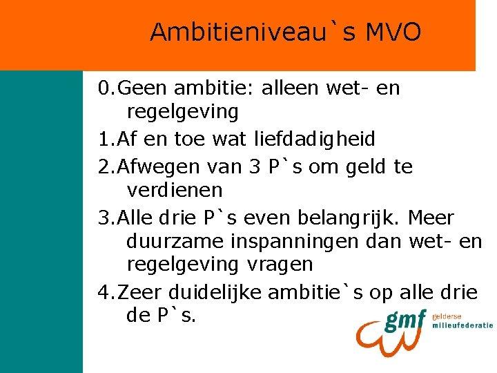 Ambitieniveau`s MVO 0. Geen ambitie: alleen wet- en regelgeving 1. Af en toe wat