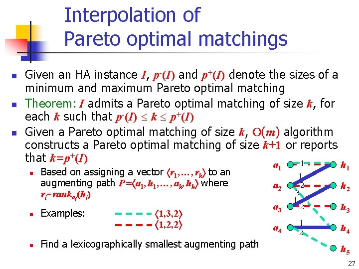 Interpolation of Pareto optimal matchings n n n Given an HA instance I, p-(I)