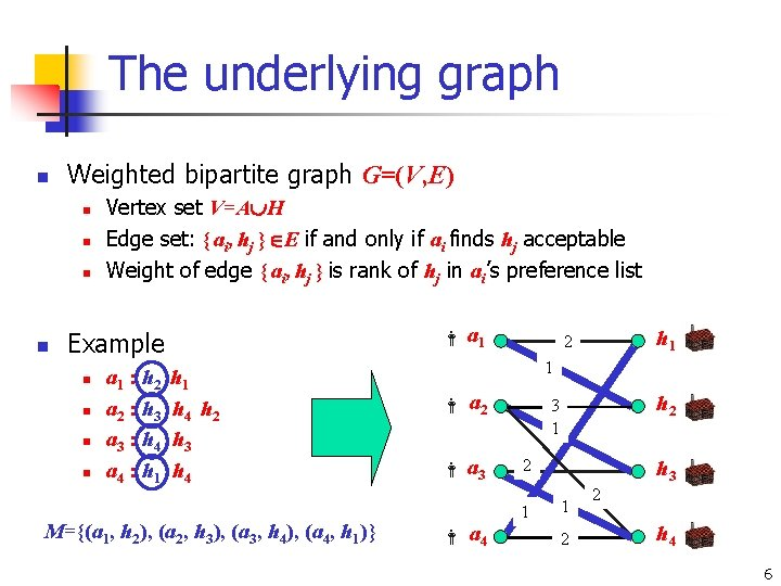 The underlying graph n Weighted bipartite graph G=(V, E) n n Vertex set V=A