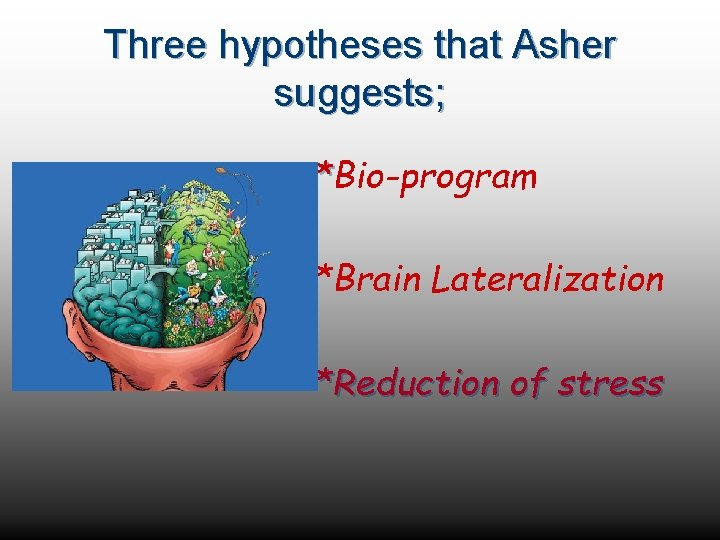 Three hypotheses that Asher suggests; *Bio-program *Brain Lateralization *Reduction of stress