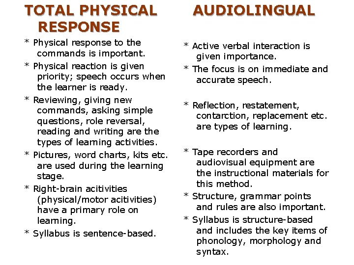 TOTAL PHYSICAL RESPONSE * Physical response to the commands is important. * Physical reaction