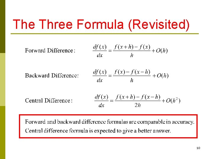 The Three Formula (Revisited) 10