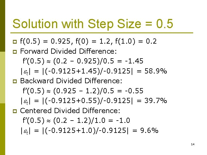 Solution with Step Size = 0. 5 p p f(0. 5) = 0. 925,