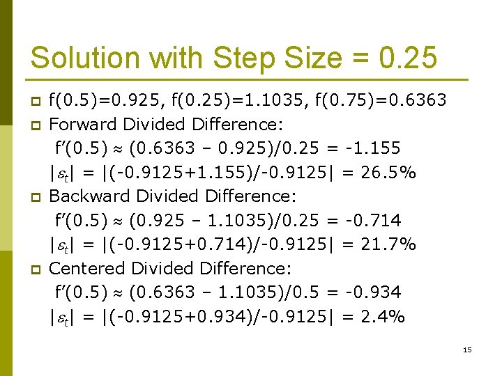 Solution with Step Size = 0. 25 p p f(0. 5)=0. 925, f(0. 25)=1.