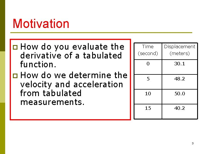 Motivation How do you evaluate the derivative of a tabulated function. p How do