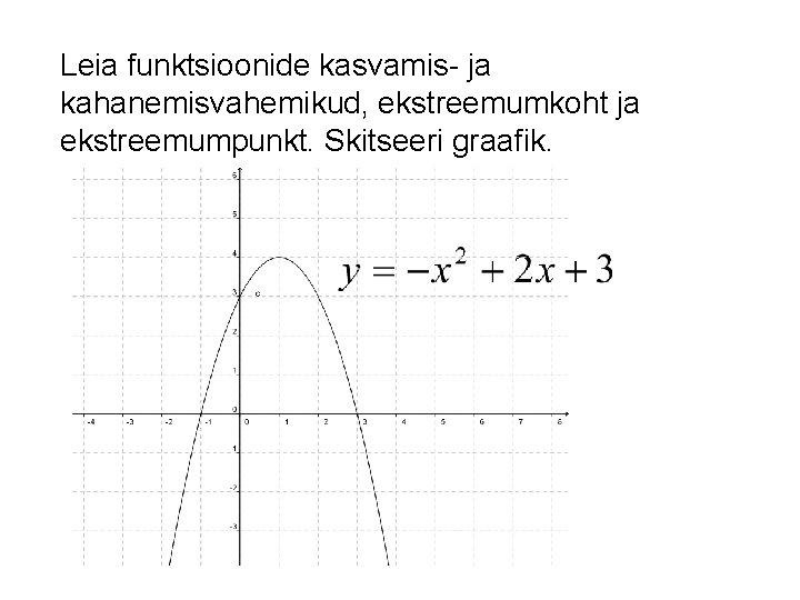 Leia funktsioonide kasvamis- ja kahanemisvahemikud, ekstreemumkoht ja ekstreemumpunkt. Skitseeri graafik.