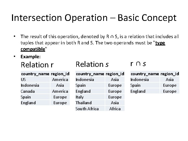 Intersection Operation – Basic Concept • The result of this operation, denoted by R