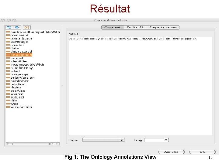 Résultat Fig 1: The Ontology Annotations View 15