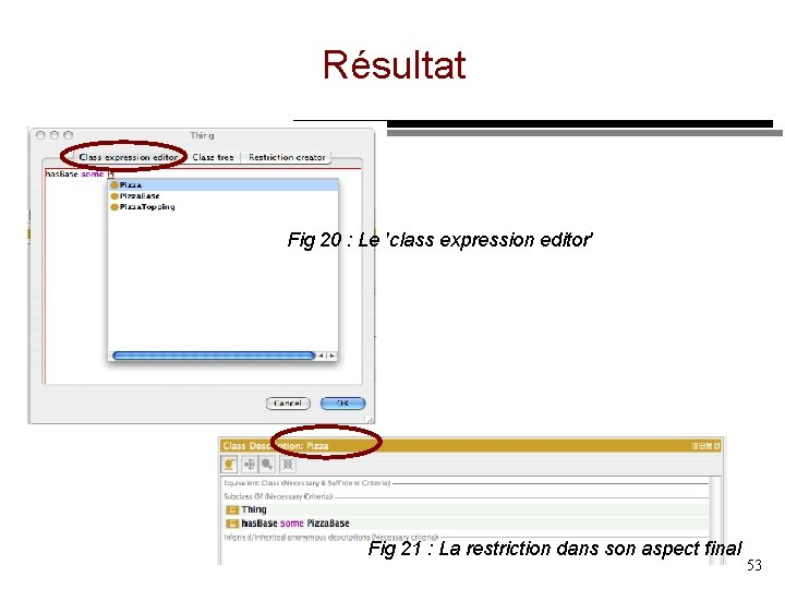 Résultat Fig 20 : Le 'class expression editor' Fig 21 : La restriction dans