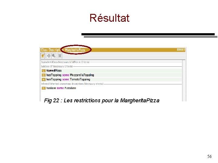 Résultat Fig 22 : Les restrictions pour la Margherita. Pizza 56