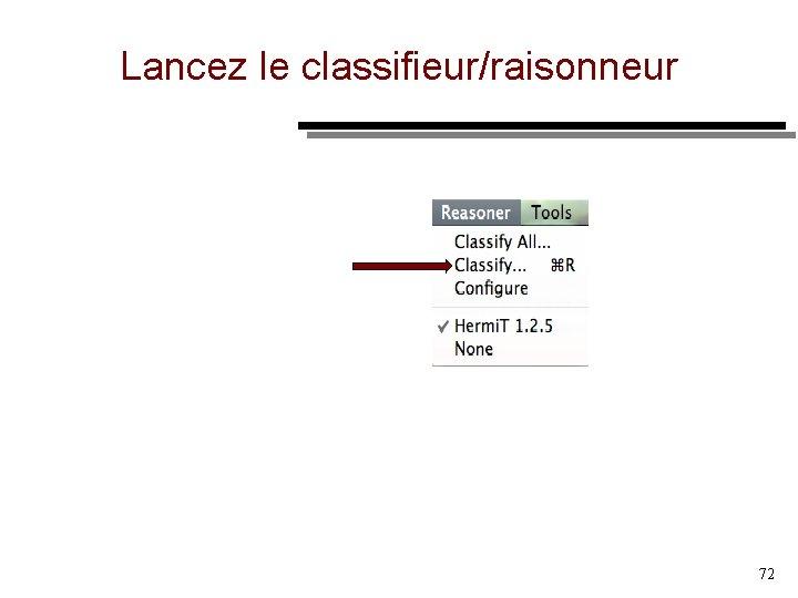 Lancez le classifieur/raisonneur 72