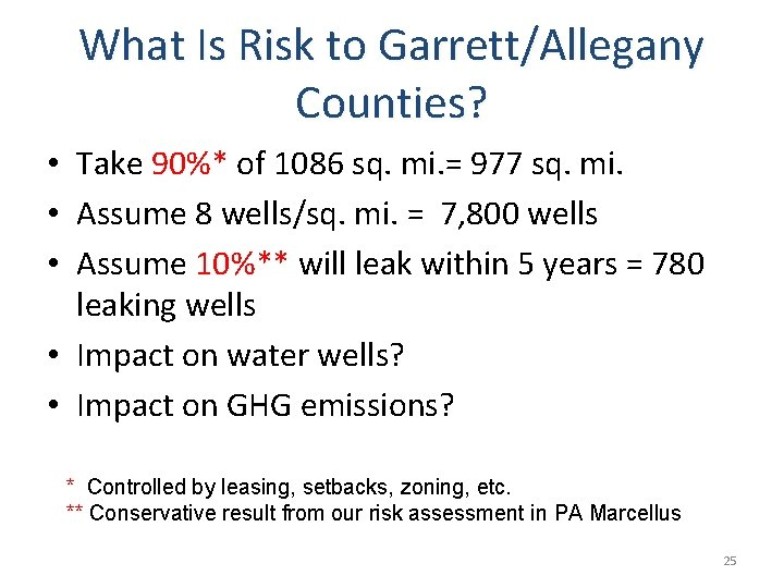 What Is Risk to Garrett/Allegany Counties? • Take 90%* of 1086 sq. mi. =
