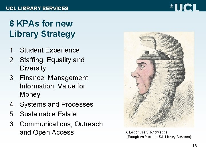 UCL LIBRARY SERVICES 6 KPAs for new Library Strategy 1. Student Experience 2. Staffing,