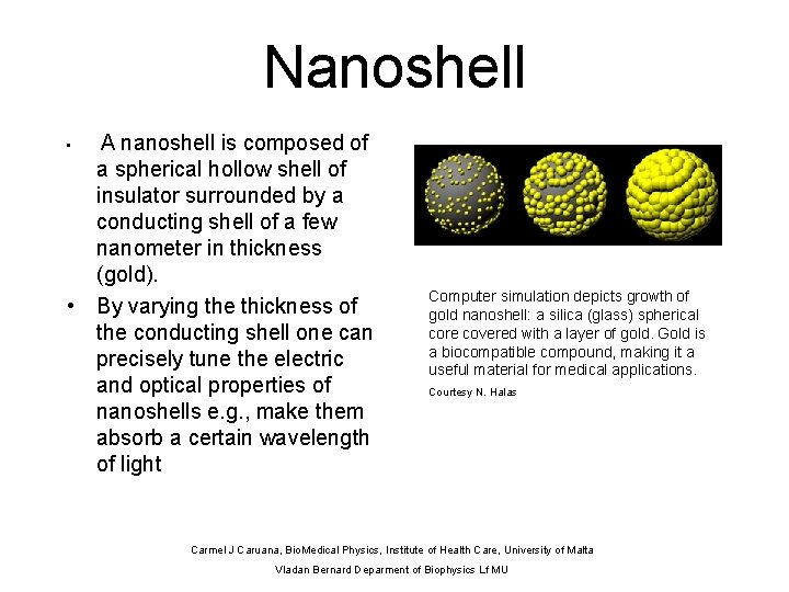 Nanoshell A nanoshell is composed of a spherical hollow shell of insulator surrounded by