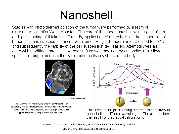 Nanoshell. . . Studies with photo thermal ablation of the tumor were performed by