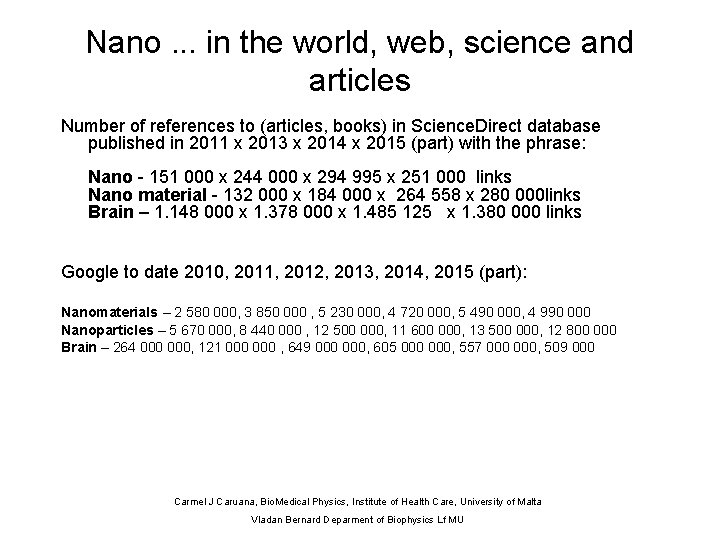 Nano. . . in the world, web, science and articles Number of references to