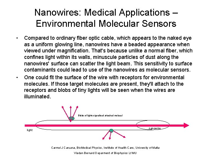Nanowires: Medical Applications – Environmental Molecular Sensors • • Compared to ordinary fiber optic