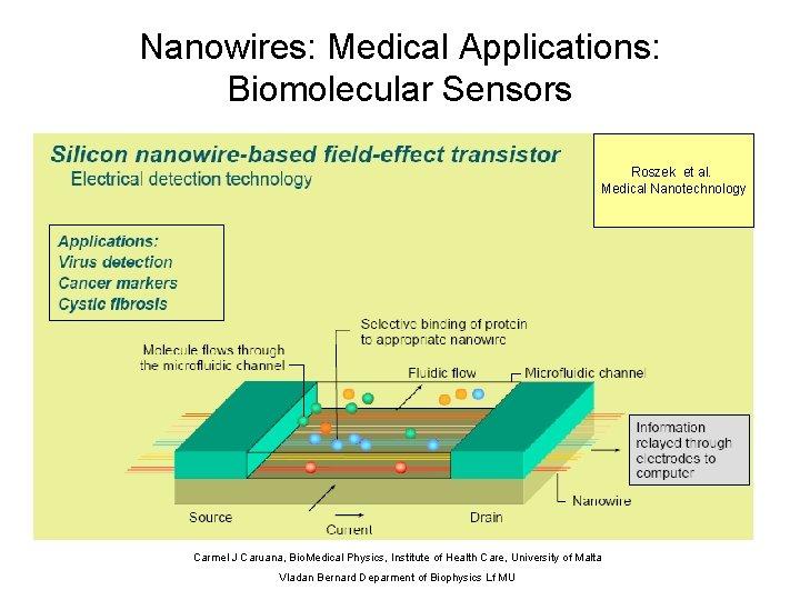 Nanowires: Medical Applications: Biomolecular Sensors Roszek et al. Medical Nanotechnology Carmel J Caruana, Bio.