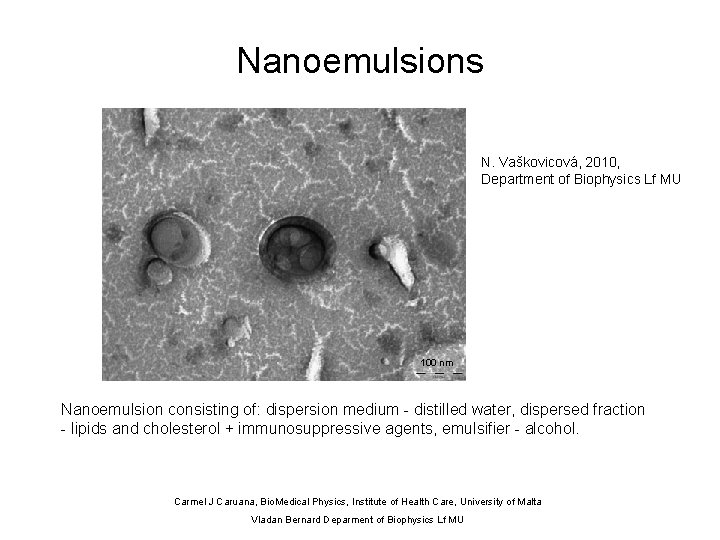 Nanoemulsions N. Vaškovicová, 2010, Department of Biophysics Lf MU 100 nm Nanoemulsion consisting of: