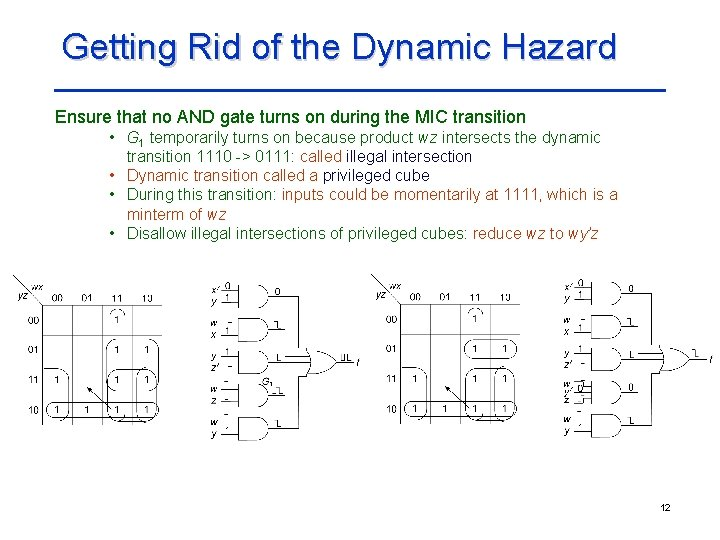 Getting Rid of the Dynamic Hazard Ensure that no AND gate turns on during