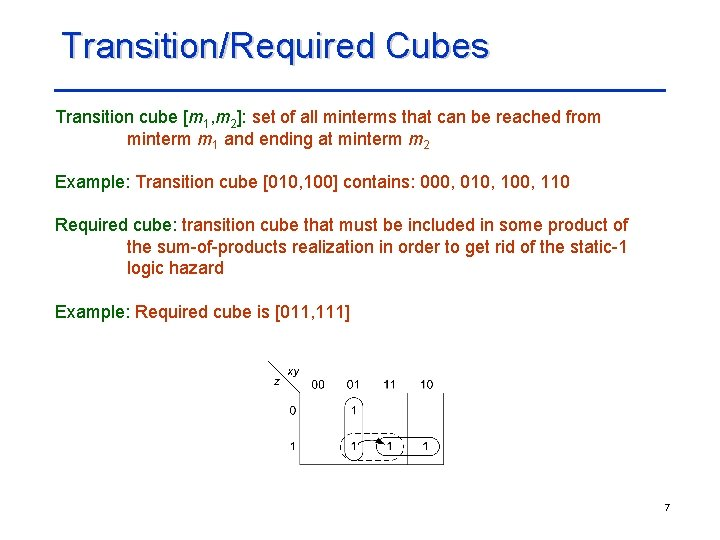 Transition/Required Cubes Transition cube [m 1, m 2]: set of all minterms that can