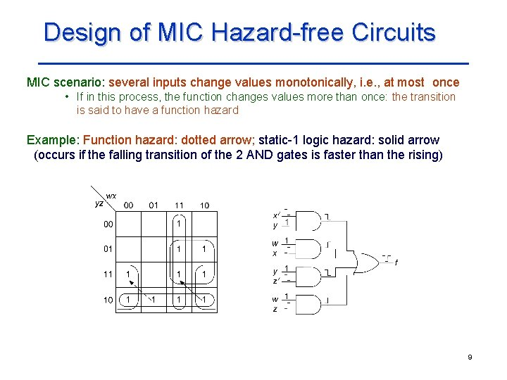 Design of MIC Hazard-free Circuits MIC scenario: several inputs change values monotonically, i. e.