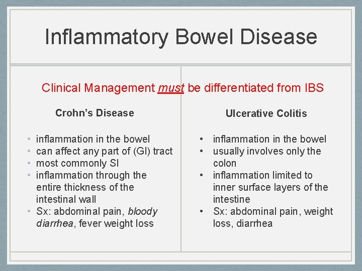 Inflammatory Bowel Disease Clinical Management must be differentiated from IBS Crohn's Disease • •