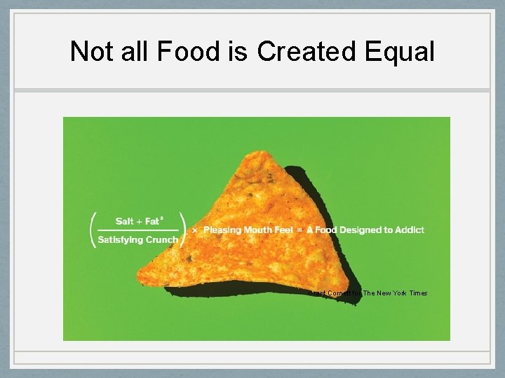 Not all Food is Created Equal Grant Cornett for The New York Times