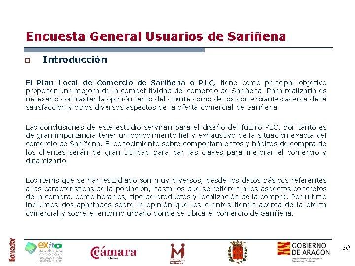 Encuesta General Usuarios de Sariñena o Introducción El Plan Local de Comercio de Sariñena