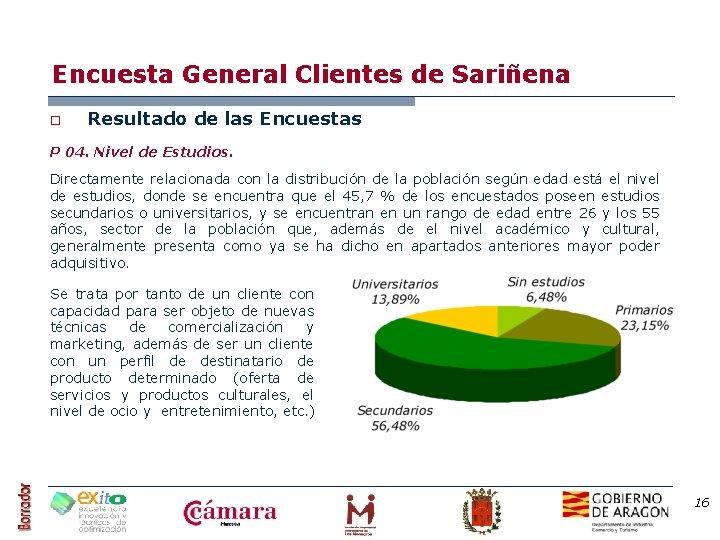 Encuesta General Clientes de Sariñena o Resultado de las Encuestas P 04. Nivel de
