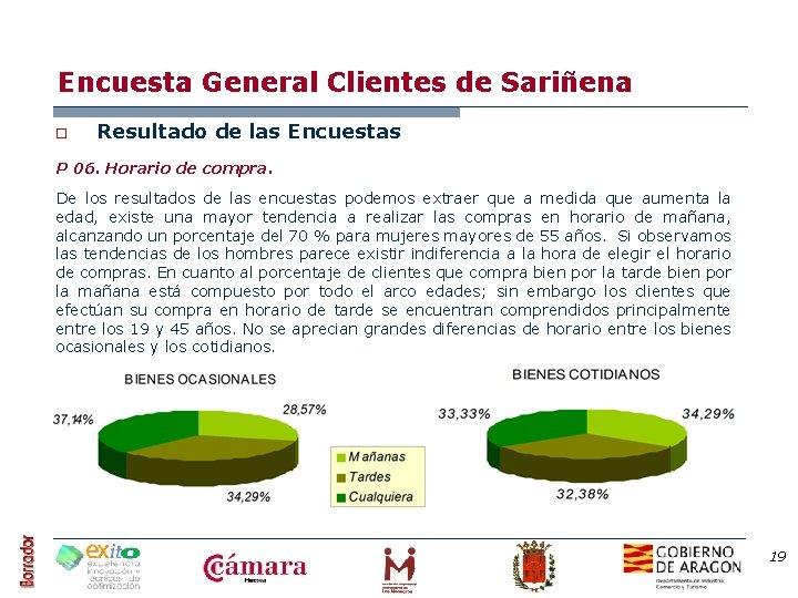 Encuesta General Clientes de Sariñena o Resultado de las Encuestas P 06. Horario de
