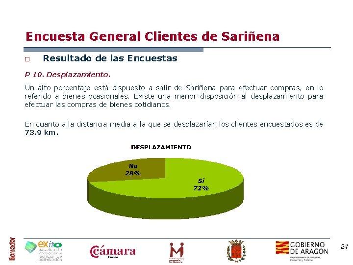 Encuesta General Clientes de Sariñena o Resultado de las Encuestas P 10. Desplazamiento. Un