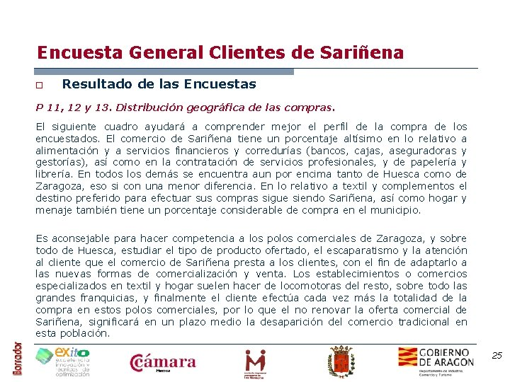 Encuesta General Clientes de Sariñena o Resultado de las Encuestas P 11, 12 y