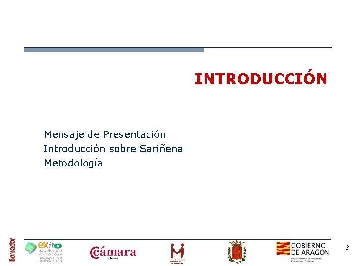 INTRODUCCIÓN Mensaje de Presentación Introducción sobre Sariñena Metodología 3