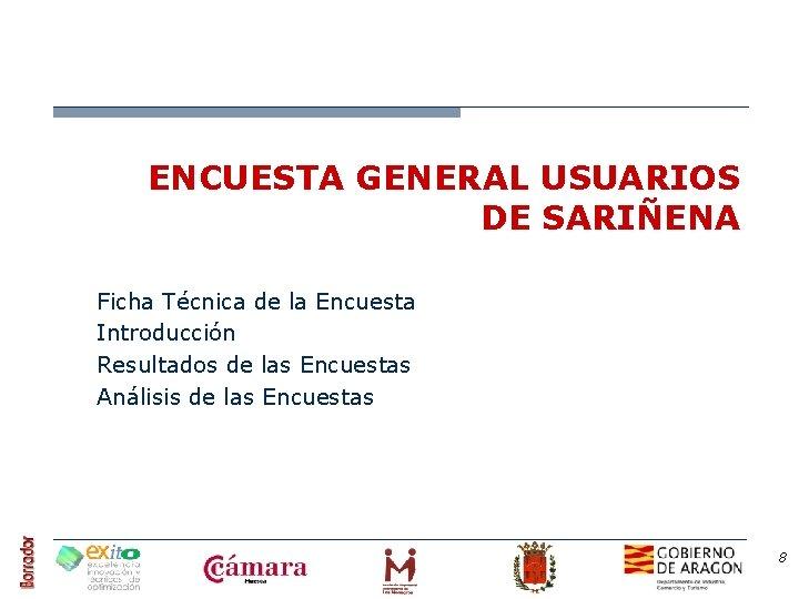 ENCUESTA GENERAL USUARIOS DE SARIÑENA Ficha Técnica de la Encuesta Introducción Resultados de las