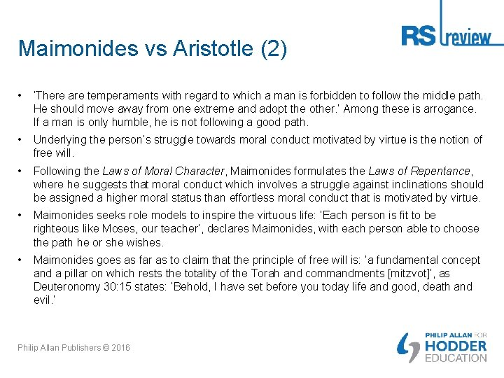 Maimonides vs Aristotle (2) • 'There are temperaments with regard to which a man