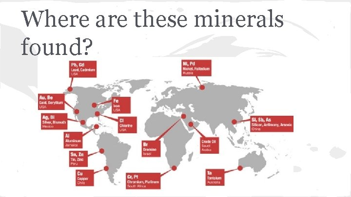 Where are these minerals found?