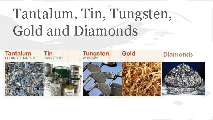 Tantalum, Tin, Tungsten, Gold and Diamonds