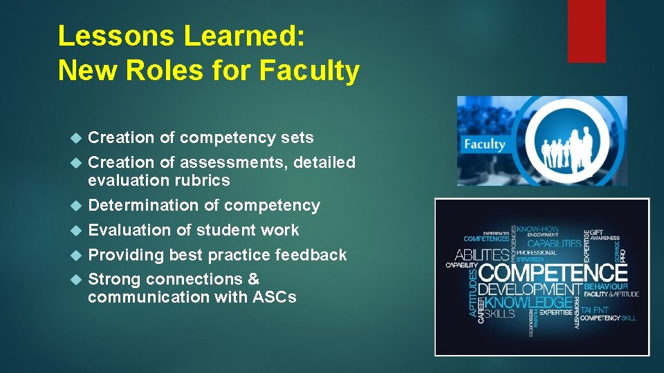 Lessons Learned: New Roles for Faculty Creation of competency sets Creation of assessments, detailed
