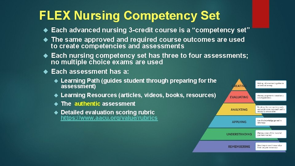"FLEX Nursing Competency Set Each advanced nursing 3 -credit course is a ""competency set"""